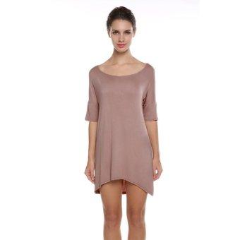 Sunweb Stylish Women Ladies Medium Sleeve Asymmetric Hem Stretch Casual Loose Dress ( Coffee ) - intl
