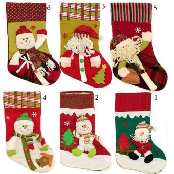 Cotton Christmas Stocking Santa Claus Hanging Gift Bag Decoration Party Ornament(40x20x25cm) - Intl