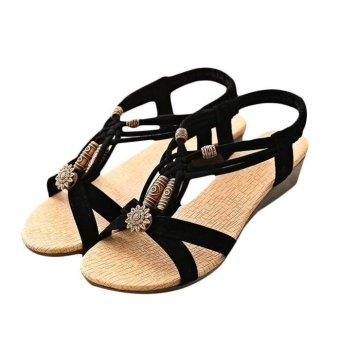 Women's Casual Peep-toe Flat Buckle Shoes Roman Summer Sandals - intl