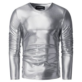 Mens Bright Leisure V Influx T-shirt Handsome Slim Pullover Long Sleeve T-shirt (Silver) - intl