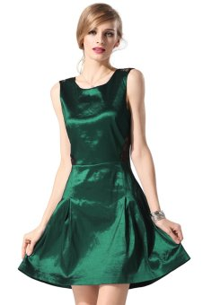 Cyber Finejo Stylish Sexy Lace Cross Sleeveless Party Cocktail Charming Dress (Green) - Intl