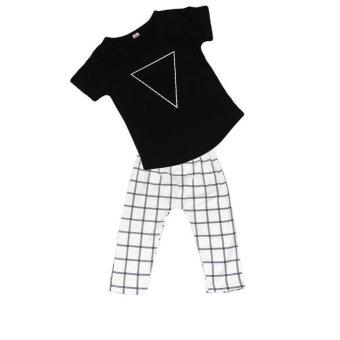 1Set Kids Baby Boy T-shirt Tops+Checked Pants Black - intl