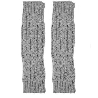 Winter Warm Fingerless Knitted Long Gloves Sleevelet Wrist Arm Mitten Light Gray - Intl