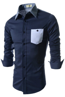 Reverieuomo CS39 Single-Breasted Shirt Blue - Intl