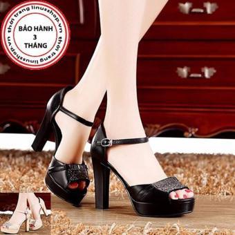 Giày cao gót Oreo đính đá - LN924