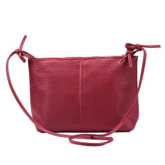 Women Faux Leather Satchel Shoulder Bag Messenger Tote Handbag Red