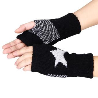 Men Women Winter Warmer Star Knitted Mittens Fingerless Arm Glove Black (Intl)