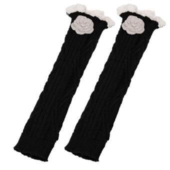 A Pair of Women Acrylic Fibers Lace Floral Winter Crochet Leg Warmer Cuffs Boot Cuffs Long Socks Toppers Black - intl