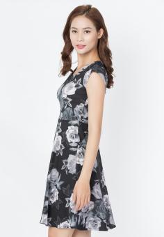 Đầm vintage Cirino in hoa hồng đen