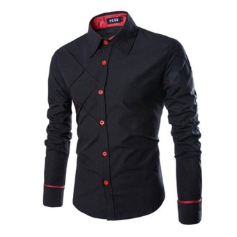 Men's Cotton Long Sleeve Slim Fit Button Down Easy-care Shirt Checked Style Male Causal Shirt Clothing Plus Size - intl