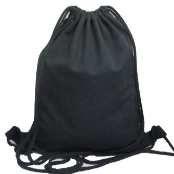 Unisex Backpacks Solid Bags Drawstring Backpack Black - intl