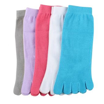5 Pairs Thin Cotton Women Five Fingers Separate Sock Antibacterial Deodorant Toe Socks (Intl)