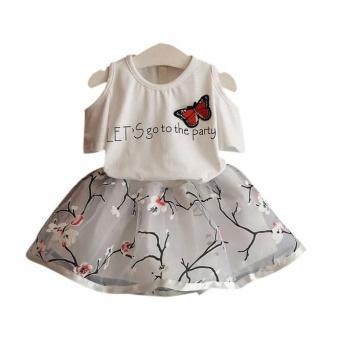 Kids Girls Letter Butterfly Shirt Top Flowers Skirt Set Clothing - intl