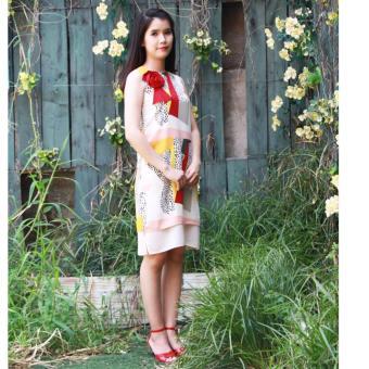 Đầm lụa hoa văn màu 18DT21