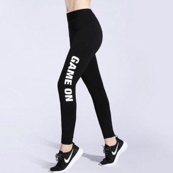 Professional Breathable Ladies Sports Running Jogger Pants Women Yogart Leggings- #game on (white) - intl