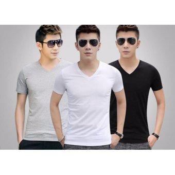 Bộ 3 áo thun nam cổ tim body ( đen, trắng, xám )