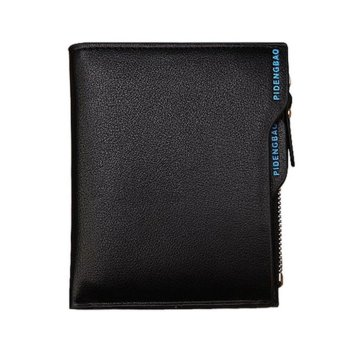 niceEshop Men's Black Genuine Leather Short Bifold Wallet With Removable Cards Holder - intl