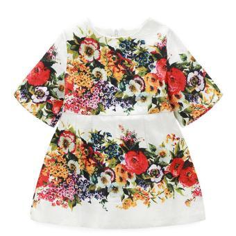 Girls Flower Printing Dress Multicolor - intl
