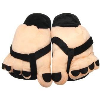 Women Funny Large Foot Winter Slippers Home Indoor Floor Non-Slip Slipper Women Ladies Warm Foot Plush Shoe Inner Length 25.5cm (Intl) - Intl
