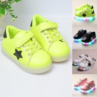 Moonar Fashion Kids Boys Girls Star Pattern LED Luminous Sneakers Light Up Flashing Running Shoes Size 21-30 (Green) - intl