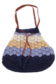 LALANG Straw Shoulder Bag Fashion (Blue)