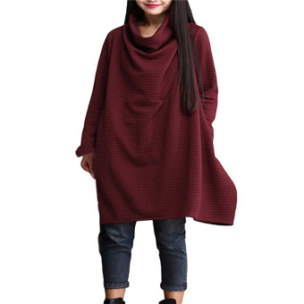 ZANZEA Casual Loose Baggy Women Top Oversized Turtleneck Dresses (Intl)