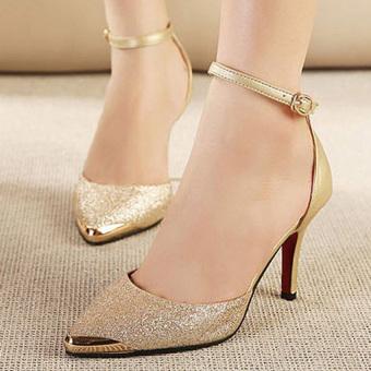 Giày cao gót mũi kim loại G462 (Vàng)