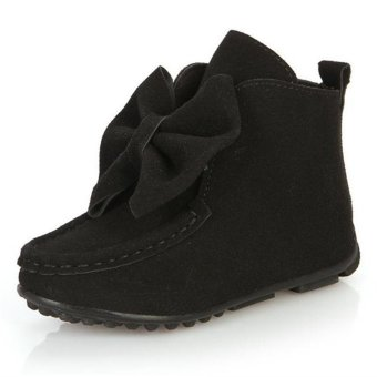 Children Girls Kids Bowknot Princess Soft Ankle Boots Slip on Bowknot Flat Shoes Black - intl