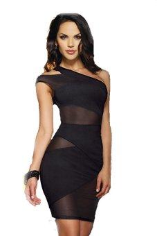 One Shoulder Clubwear Tank Dress (Black) - Intl