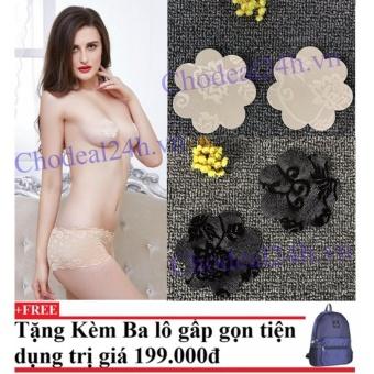 Bộ 20 miếng dán ngực vải ren dùng 1 lần (đen,da) + Tặng kèm balo du lịch gấp gọn