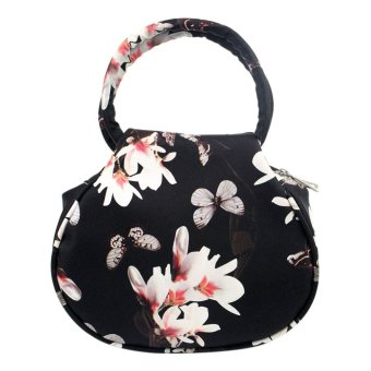 PU Leather Handbags National Shoulder Bags Flower Printing (Black) - intl