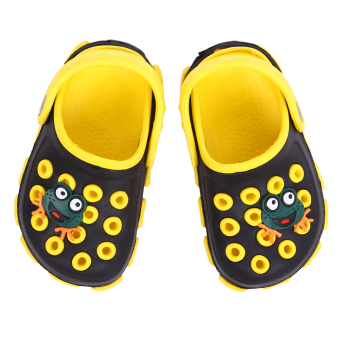 Boys Frog Cartoon Non-slip Hole Sandals Slippers (Black)