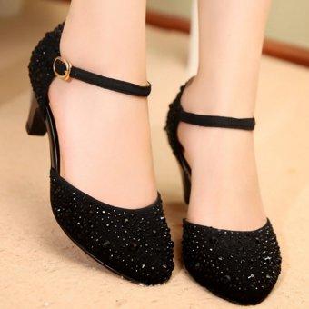 Giày đính hạt xoàn CG907 (Đen)