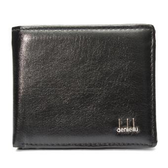Men Leather Wallet Pocket Card Money Holder Clutch Bifold Slim Purse Black - Intl