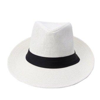 Unisex Fedora Trilby Large Brim Beach Straw Hats White (turn up) - Intl