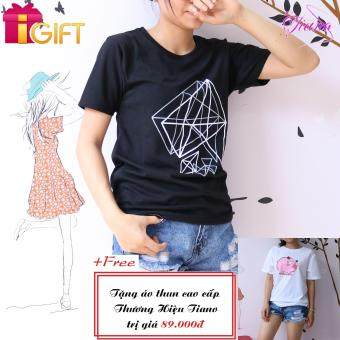 Áo Thun Nữ Tay Ngắn In Hình Kim Cương Cực Cool Tiano Fashion LV390 ( Màu Đen ) + Tặng Áo Thun Nữ Ngắn Tay In Hình Con Heo Cá Tính Tiano Fashion