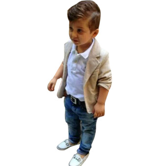 Baby Boys Gentleman Coat + Shirt +Denim Trousers Set Kids Clothes - - intl