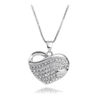 Dây chuyền nữ mặt trái tim gắn đá ALOLA jw016 (Bạc)
