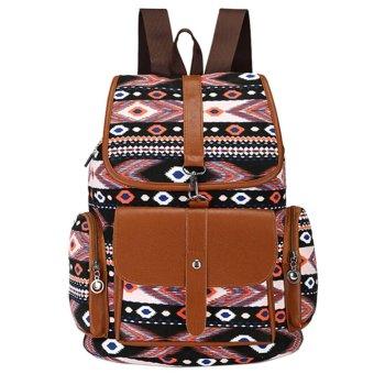 New sethnic WomenCanva Gir Fahion Fip Ruckack choo backpack houd - intl