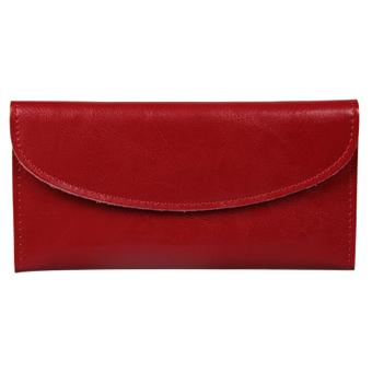Women Genuine Leather Wallet Clutch Purse Handbag Bag Trifold Bifold Red