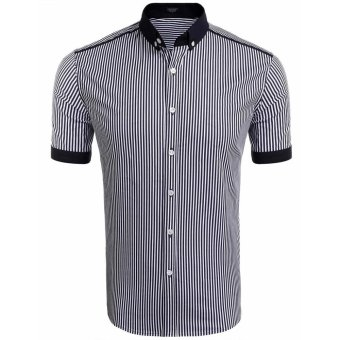 Cyber Men's Short Sleeve Contrast Color Vertical Striped Button Down Shirt ( White&Blue ) - intl