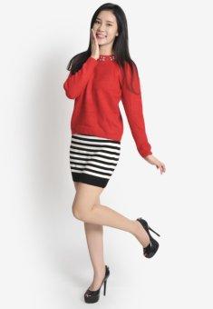 Áo len nữ đính hạt vai tròn HQLens (Đỏ)