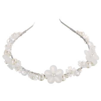 Fashion Women Pearl Alloy Flower Bridal Hair Band Wedding Dress Headwear (Intl)