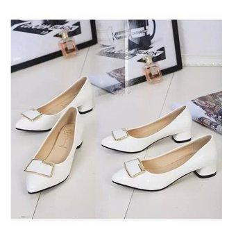 Giày búp bê nữ có gót thấp tạo dáng vẻ đáng yêu - 172 (Trắng)
