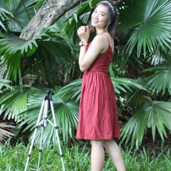 Đầm hai dây linen - form ôm - màu đỏ đô
