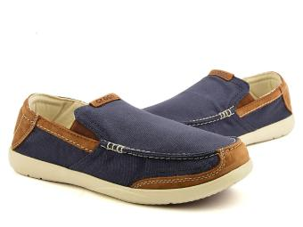 Giày lười nam Crocs Walu Luxe Canvas Loafer M Navy/Stucco 203473-46K (Xanh Navy)