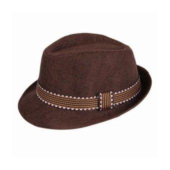 New Fashion Kids Boy Girl Unisex Fedora Hat Contrast Trim Cool Jazz Hat Trilby Cap Chapeau - Intl