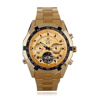 Stainless Steel Automatic Men Watch With Calendar golden - Intl