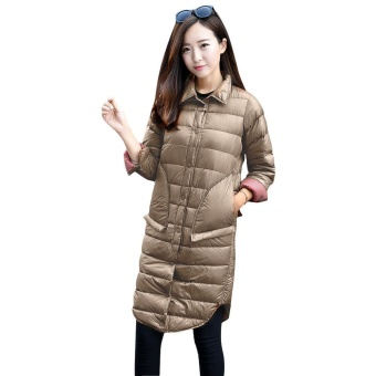 Gamiss Fashion Turn-Down Collar Long Sleeve Button Design Pure Color Women Down Jacket(Camel) - intl