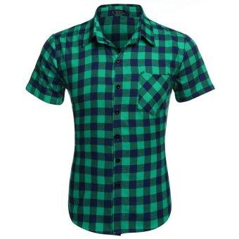 Cyber COOFANDY Men's Short Sleeve Turndown Neck Plaid Shirt (Green) - Intl